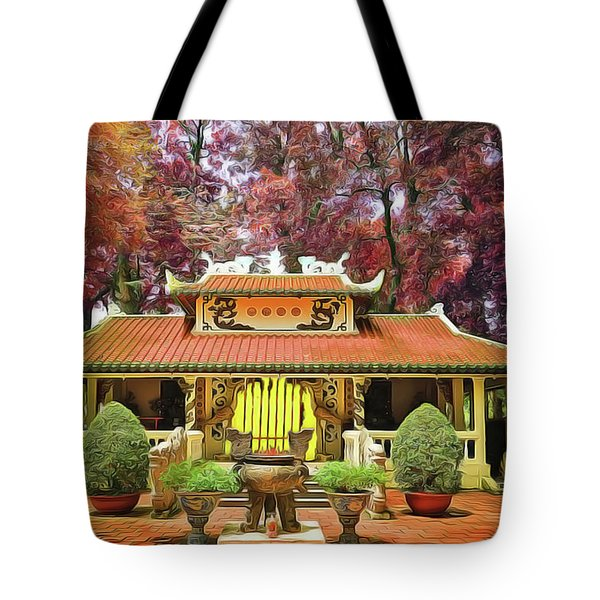Tote Bag featuring the painting Pagoda by Harry Warrick