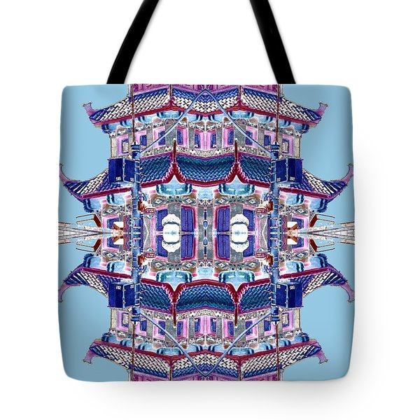 Tote Bag featuring the photograph Pagoda Tower Becomes Chinese Lantern 2 Chinatown Chicago by Marianne Dow