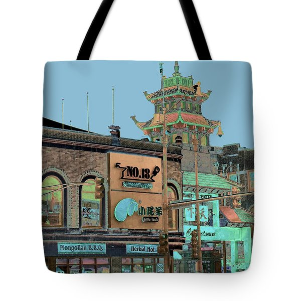 Tote Bag featuring the photograph Pagoda Tower Chinatown Chicago by Marianne Dow