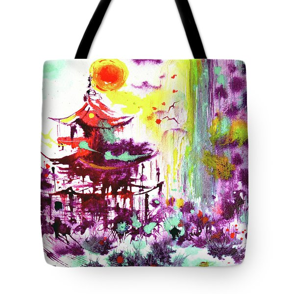 Tote Bag featuring the painting Pagoda by Zaira Dzhaubaeva