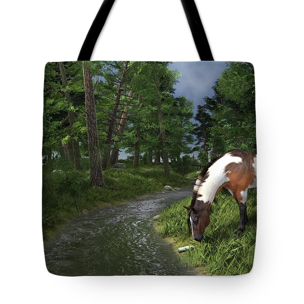 Paint Horse By The Forest Stream Tote Bag