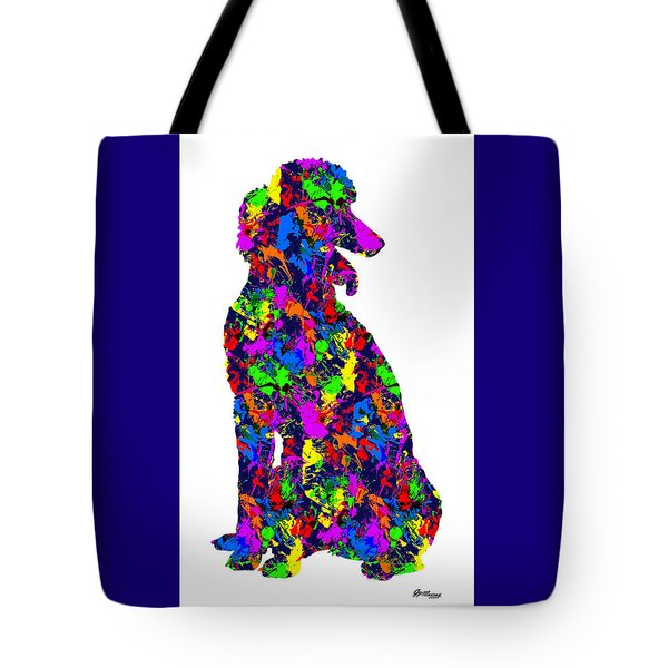 Paint Splatter Poodle Tote Bag