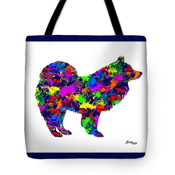 Paint Splatter Samoyed Dog Tote Bag