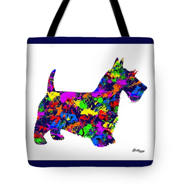 Paint Splatter Scottish Terrier Tote Bag