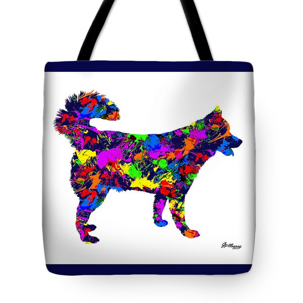 Paint Splatter Siberian Husky Tote Bag