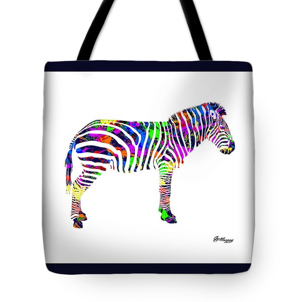Paint Splatter Zebra Tote Bag