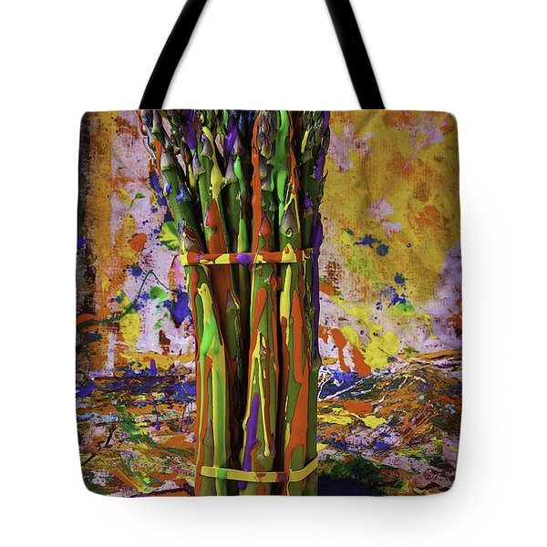 Painted Asparagus Tote Bag by Garry Gay