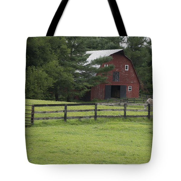 Painted Barn With Horses Tote Bag