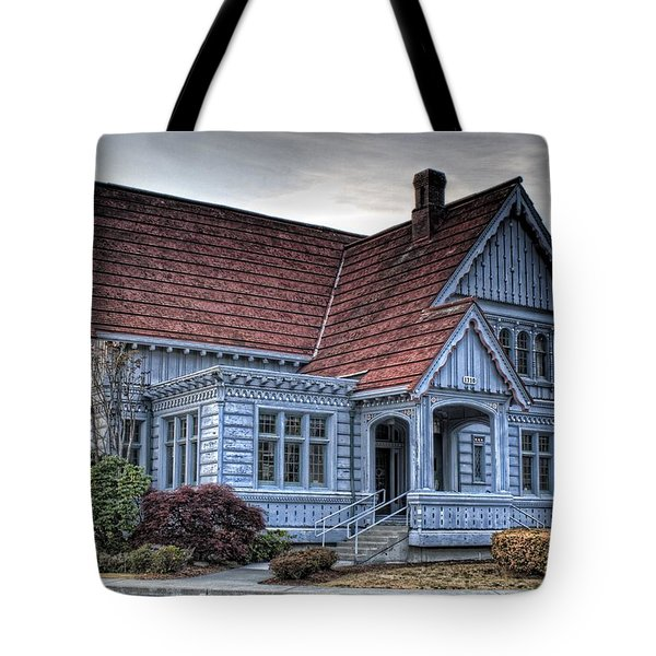 Painted Blue House Tote Bag