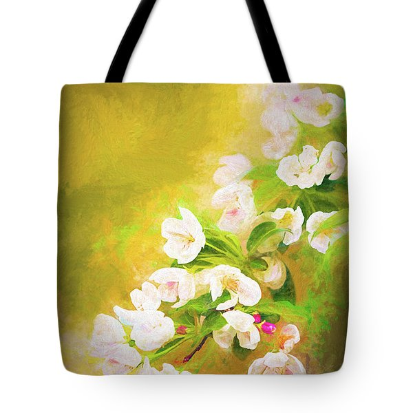 Painted Crabapple Blossoms In The Golden Evening Light Tote Bag