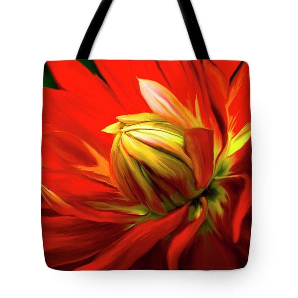 Painted Dahlia In Full Bloom Tote Bag