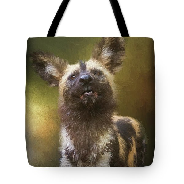 Painted Dog Portrait Tote Bag