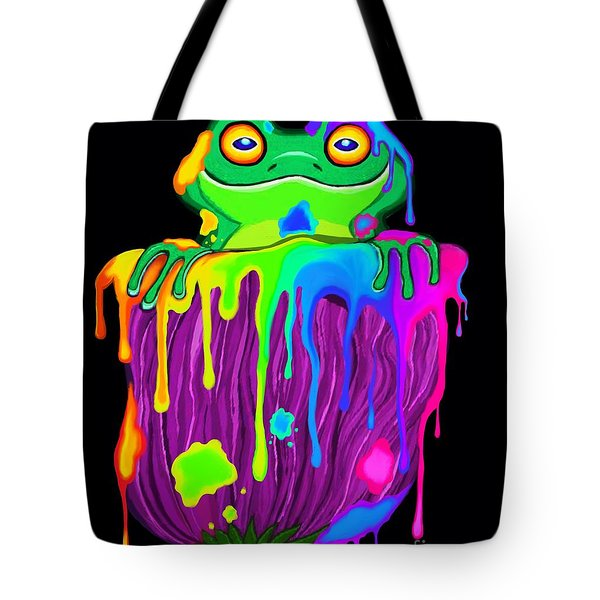 Painted Flower Frog  Tote Bag