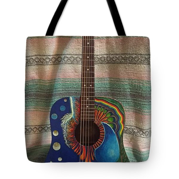 Painted Guitar Tote Bag