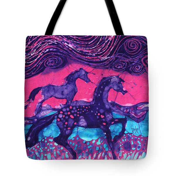 Painted Horses Below The Wind Tote Bag by Carol  Law Conklin