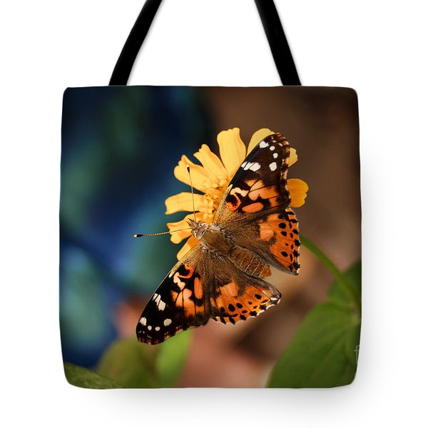 Tote Bag featuring the photograph Painted Lady Butterfly by Eva Kaufman
