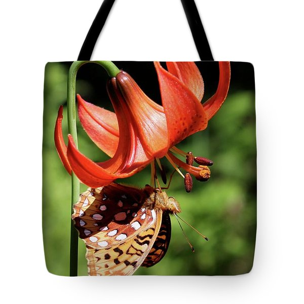 Painted Lady On Lily Tote Bag