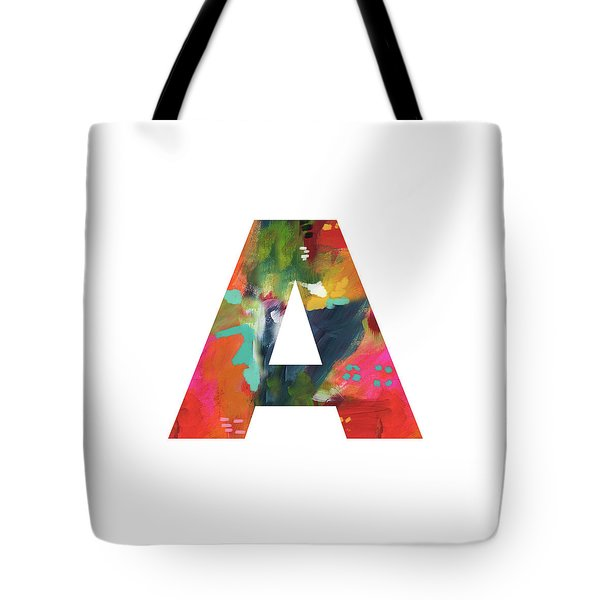Painted Letter A -monogram Art By Linda Woods Tote Bag