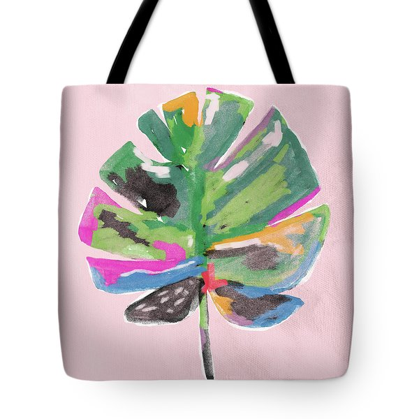 Tote Bag featuring the mixed media Painted Palm Leaf 2- Art By Linda Woods by Linda Woods