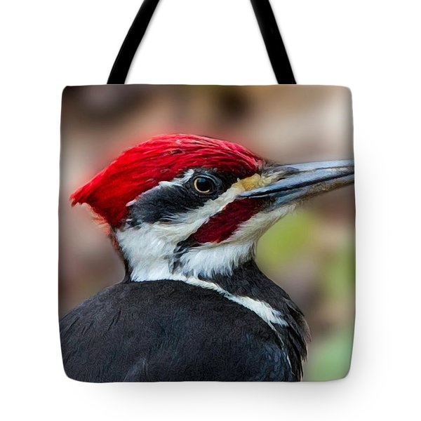 Tote Bag featuring the painting Painted Pileated Woodpecker by John Haldane