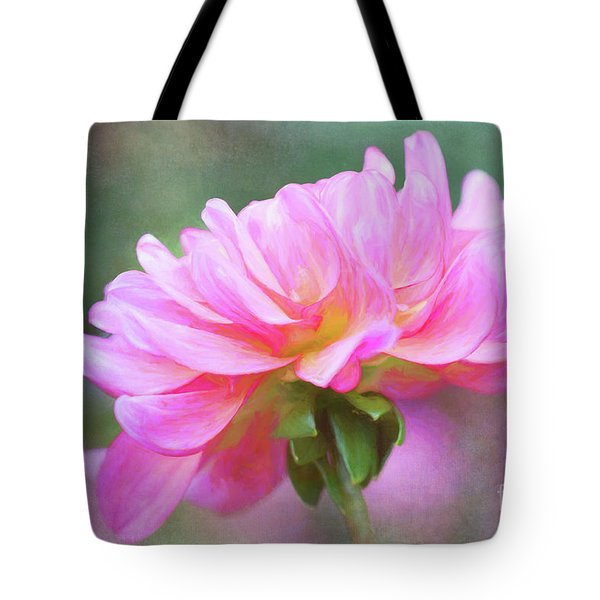 Painted Pink Dahlia Tote Bag