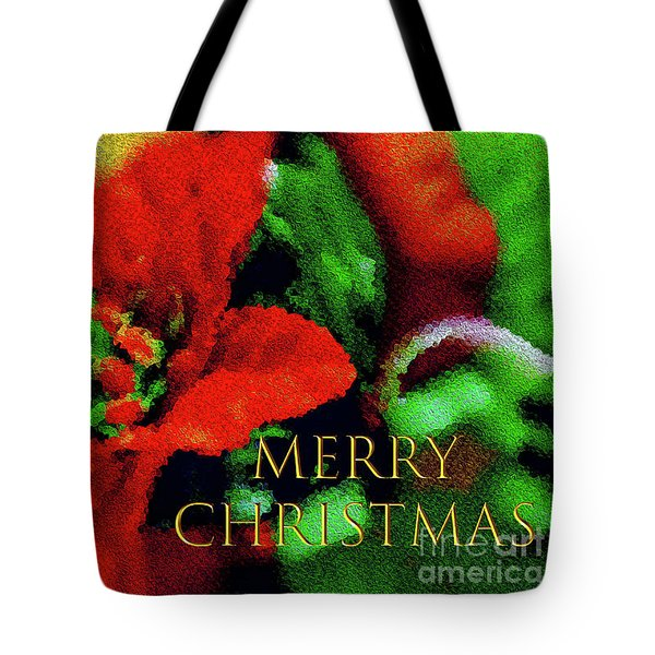 Painted Poinsettia Merry Christmas Tote Bag by Sandy Moulder