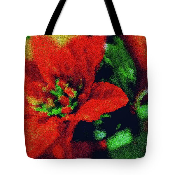 Painted Poinsettia Tote Bag by Sandy Moulder