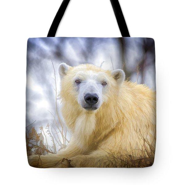 Painted Polar Bear  Tote Bag by LeeAnn McLaneGoetz McLaneGoetzStudioLLCcom