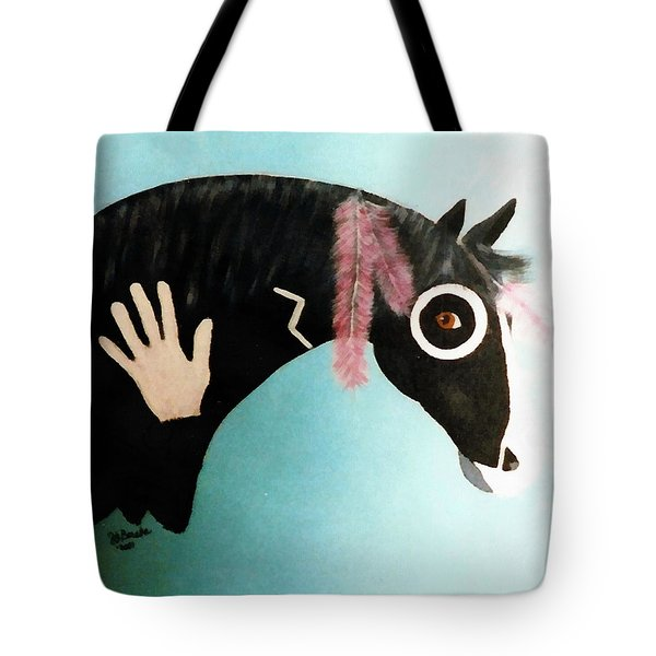 Painted Pony With Feather Tote Bag
