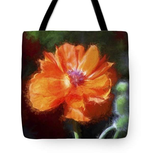 Painted Poppy Tote Bag