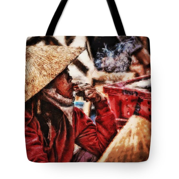 Painted Puffer Tote Bag