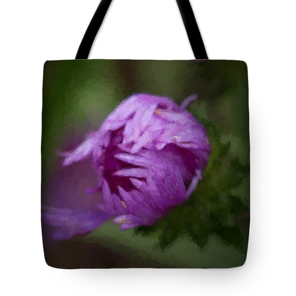 Tote Bag featuring the photograph Painted Purple Aster by Cathy Donohoue