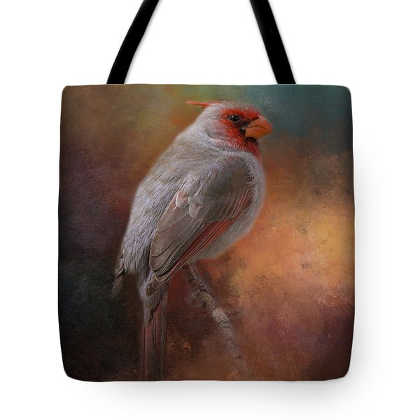 Tote Bag featuring the mixed media Painted Pyrrhuloxia by Teresa Wilson