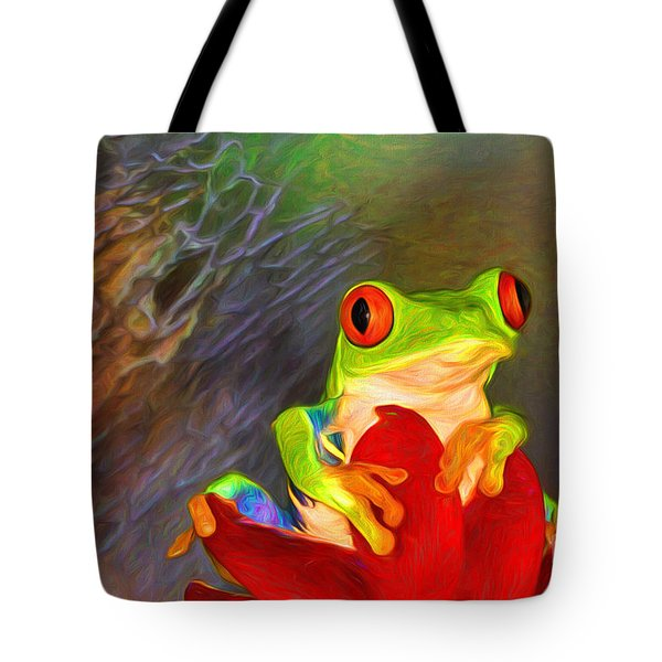 Painted Red Eyed Tree Frog Tote Bag