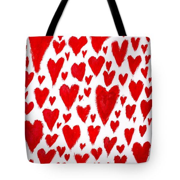 Painted Red Hearts Tote Bag