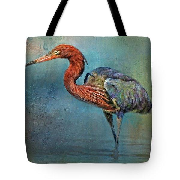 Painted Reddish Egret Tote Bag