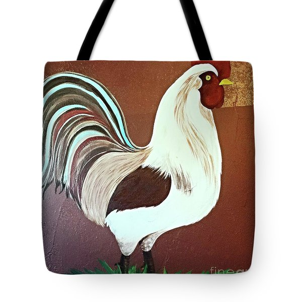 Painted Rooster Tote Bag