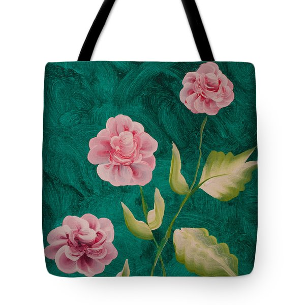 Painted Roses Tote Bag by Donna Brown
