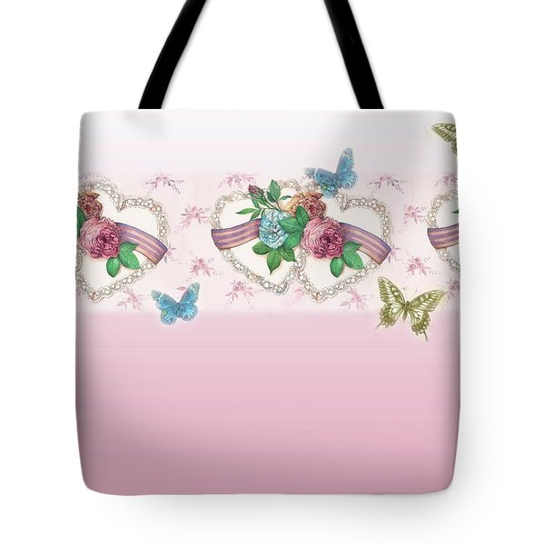 Painted Roses With Hearts Tote Bag by Judith Cheng