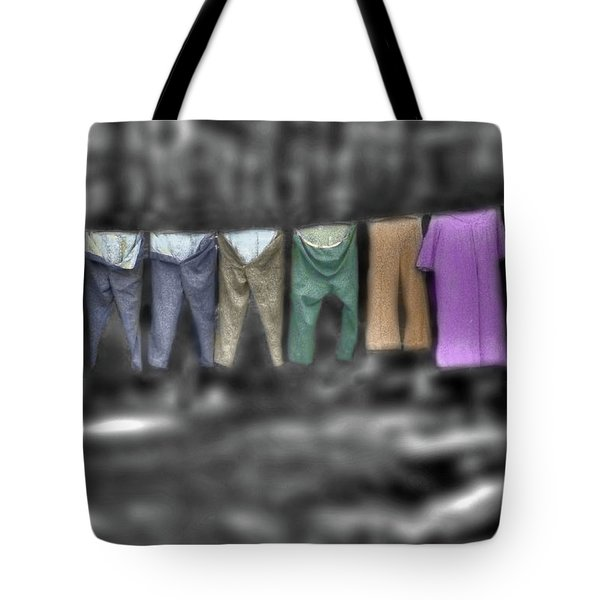 Painted Washline In Plymouth Nh Tote Bag