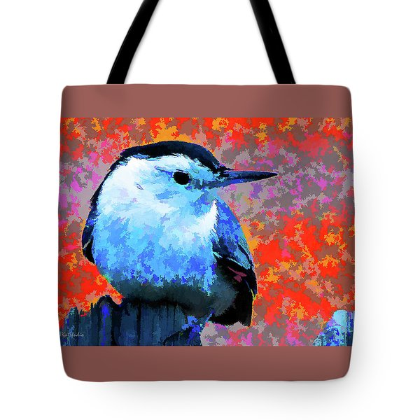 Painted White Breasted Nuthatch Tote Bag