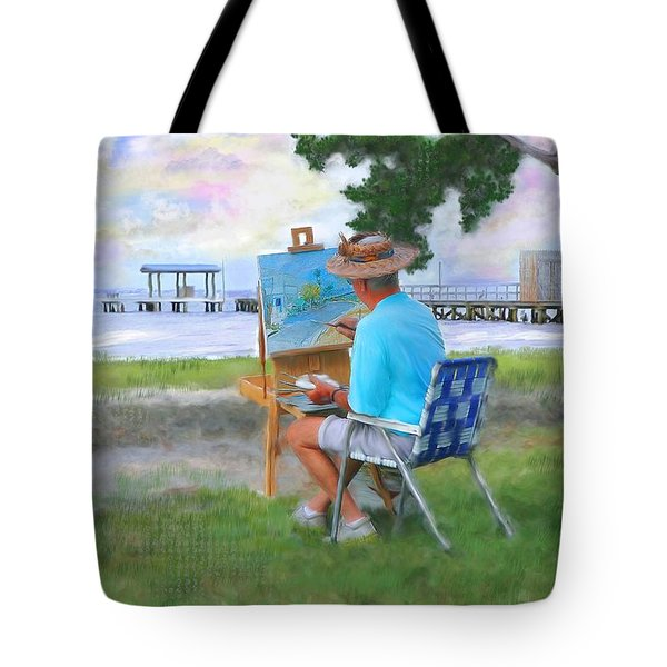 Painter On The Beach Tote Bag