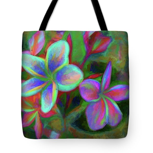 Painterly Frangipanis Tote Bag