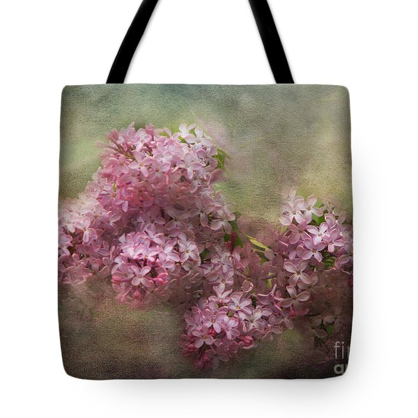 Painterly Lilac Blossom Photograph Tote Bag