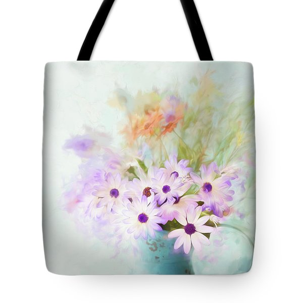 Painterly Spring Daisy Bouquet Tote Bag