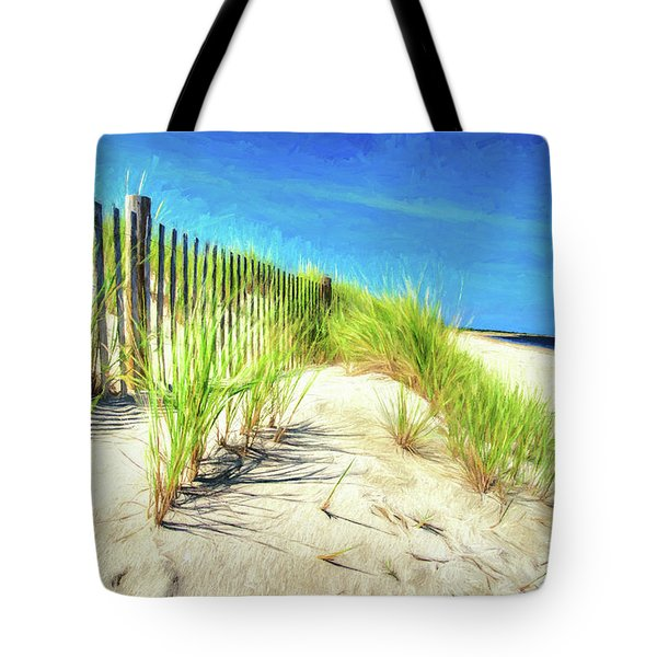 Tote Bag featuring the photograph Painterly  Waterfront Dune Grass by Gary Slawsky