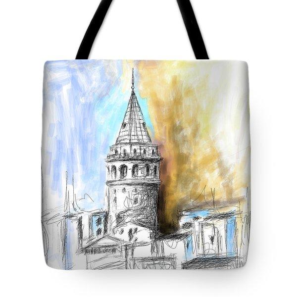 Painting 762 2 Galata Tower Tote Bag