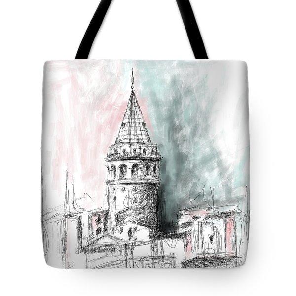 Painting 762 3 Galata Tower 3 Tote Bag