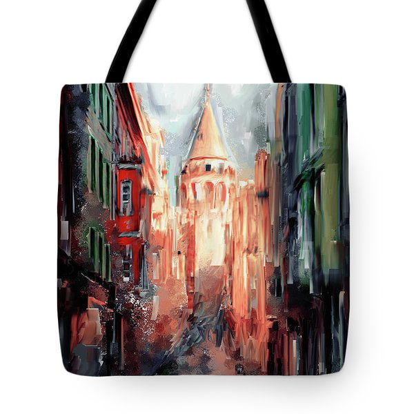 Painting 764 3 Galata Tower Tote Bag