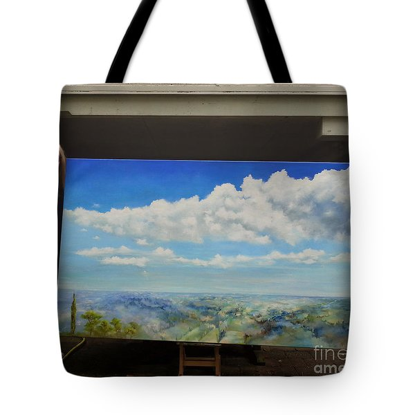 Tote Bag featuring the painting Painting Icarus by Maja Sokolowska